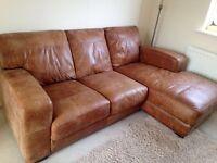 Tan leather corner sofa art deco style