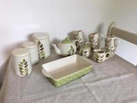 13 Piece Ceramic Tea Set with Leaf Motif
