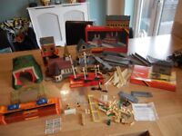 Large Vintage Hornby Train Set accessories, Buildings, Car Transporter, Signals