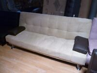 3 seater beige sofa bed with black cushions (free local delivery)