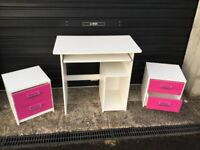 Child's Computer desk and 2 x bedside drawer units in pink and white.