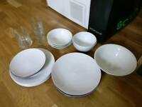Plates, bowls and glasses