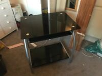 Black glass top computer desk with chair