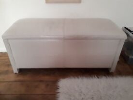 Cream Leather Ottoman - a few cracks to the leather on the top