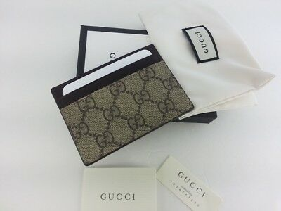 Authentic Gucci Mens GG Supreme Canvas Leather Card Case Card Holder