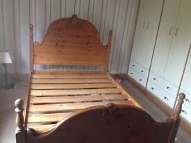 Double pine bed in good condition with large headboard and tail board