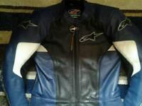Alpinestar blue 2 piece motorbike leathers