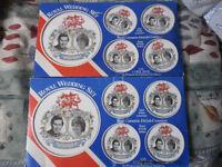 Royal Wedding Set 2 WIne Coasters & Drink Mats