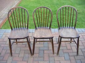 3 VINTAGE FARMHOUSE COTTAGE CHAIRS SOLID WOOD