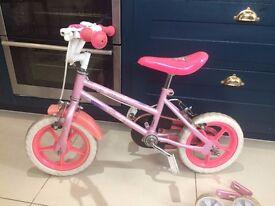 y: Pink Sparkle & Glitz Girls bike with stabilisers age 3-5, 12''