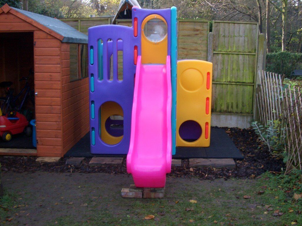 Little tikes tropical playground climbing frame with two for Little tikes outdoor playset