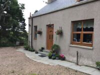 Detached Cottage 3 or 4 bedroom, FYVIE. BELOW VALUATION. Secure garden for pets and small children.