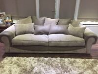 CSL sofa , molby in colour mink and mushroom, 4 seater,3 seater and large puffy