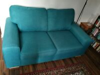 DFS Teal Colour, 2 Seater Sofabed, Fabric Canvas