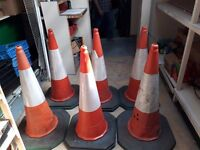 1m (3ft) High, Heavy Traffic Cones x 6
