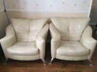 Cream Leather Sofa & 2 armchairs