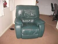 armchair green leather electric recliner