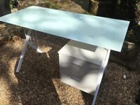 Glass topped desk with draw can deliver