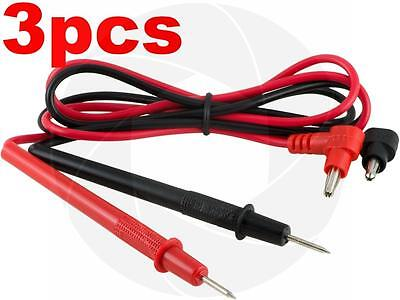3 Pairs Multimeter Voltmeter Test Probe Leads With Banana Plug Connectors 1000V