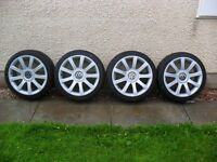 """RS4 18"""" Multi fit ( VW, Seat etc ) alloy wheels with 4 brand new tyres. Completely refurbished."""