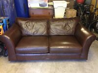 Marks & Spencer brown Leather Sofa bed
