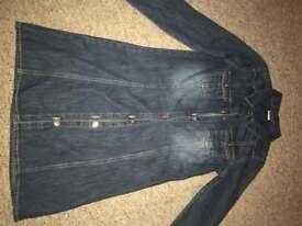 Girls long sleeved denim shirt dress age 10
