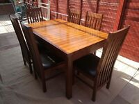 Solid dark oak table & 6 chairs