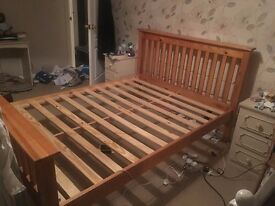 Pine double bed, good condition, solid wood, quick sale needed