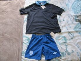 ENGLAND NATIONAL,NEW T-SHIRT AND SHORT TROUSERS!NEVER WORN!