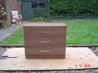 Oak Veneered Three Drawer Chest. Can Deliver.