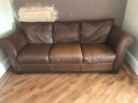 3 seater brown leather couch