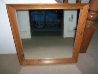 Pine wood mirror in excellent condition 71cm X 71cm