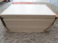 19 X CREAM CERAMIC FLOOR TILES (SIZE 33.3CMS X 22.5CMS). £5.00