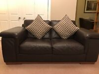 £500 2 two seater sofas & footstool brown leather