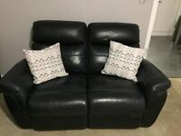 2 and 3 seater recliner black leather couches