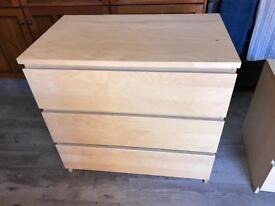 3 drawer bedroom chest & 2 bedside cabinets