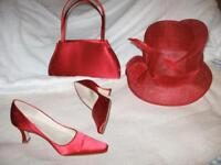 Matching hat, shoes and handbag rusty red colour