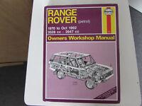 USED HAYNES WORKSHOP MANUAL RANGE ROVER 1970-1992 PETROL