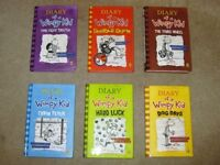 6 Diary of a Wimpy Kid Books (5 Hardbacks, 1 Paperback)