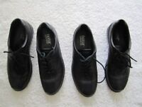 Two pairs of ladies genuine Hotter black/maroon comfort concept flats leather shoes UK size 5.5 ....