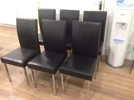 Set of 6 black chairs