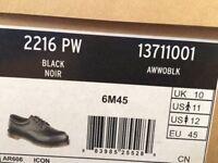 New black Dr Martens 2216 PW steel toe safety shoes size 10 (UK) 45 (EU)