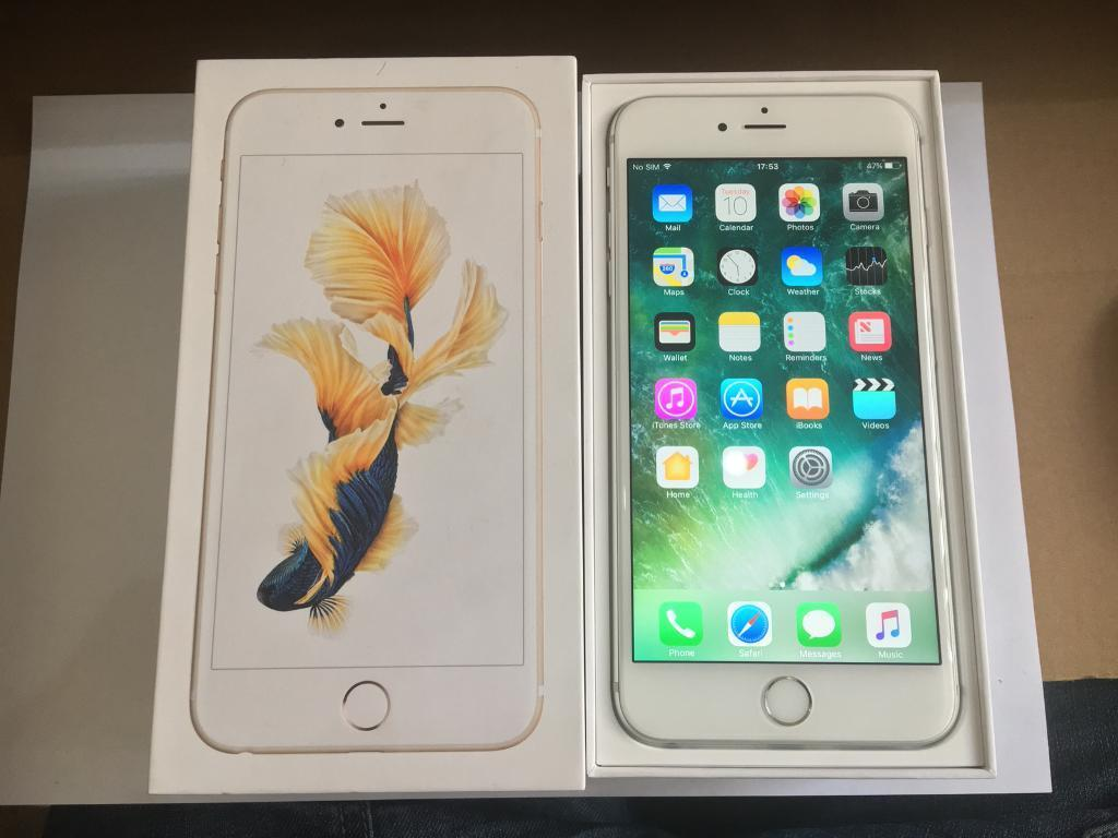 iPhone 6S Plus 16GB Silver White O2 Tesco Giff Gaff Mint Condition Boxed New Genuine Charging Lead