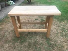 Oak wooden butchers table
