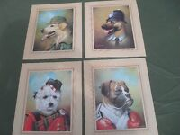"""5 Dog prints 8"""" X 10"""" in mint condition by Mike Jackson."""