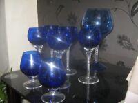 TWISTED STEM BLUE COBALT GLASSES