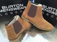 Gents Size 8 - Burtons Suede Tan Carlton Boots - New /Boxed