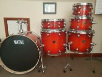 Natal Arcadia Birch shell pack. Sunburst laquer. Perfect condition.