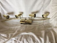 Brass ceiling lights fitment with 4 spot lights, including 4 bulbs and all figments.