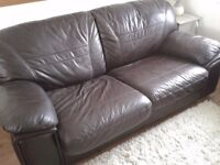 Real Brown Leather Sofabed in good condition,Can Deliver